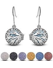 INFUSEU Hook Drop Dangle Pendientes Aceite esencial Perfume Locket Vida de ratán Plateado con 6 pares de piedras de lava Difusor para mujeres niñas mujeres