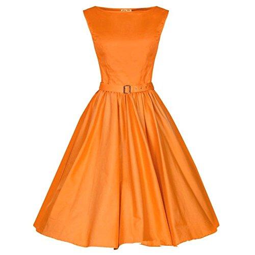 WintCo 50s Audrey Hepburn Kleid umstellbarer Band Polyester Reine Farben Grün Orange Gelb Rot Blau Orange luDI8D