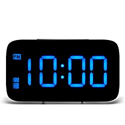 DDSKY LED Digital Alarm Clock, LED Display Automatic Clock Voice Control Electric Snooze Night Backlight Desktop Clocks for Home Bedroom Office Travel, Blue
