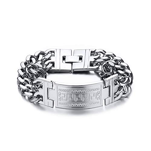 18K Gold High Density Gold Plating Men Bracelet Wide Version Double Row Curb Bracelet,Silver