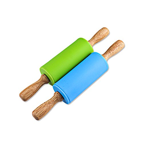Honglida 9 Inch Silicone Rolling Pin for Kids, Non-stick Surface and Comfortable Wood Handles(Pack of 2) (Blue and Green)