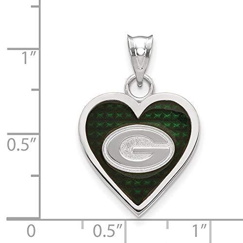 NFL Sterling Silver Green Bay Packers Enameled Heart Pendant