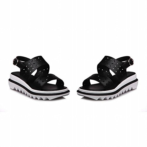 Carolbar Femmes Boucle Mode Casual Toe Plate-forme Sandales Noir
