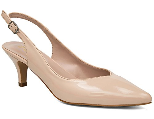 Ladies Slingback Shoe - Greatonu Womens Slingback Dress Pump (38 EU/7.5 US, Nude V)