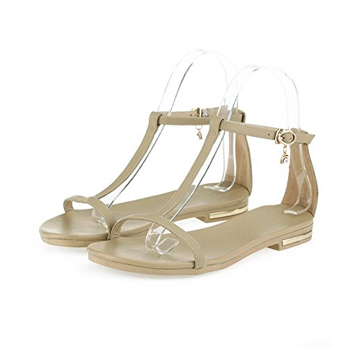 AmoonyFashion Womens No Heel Soft Material Solid Buckle Open Toe Flats-Sandals Apricot x3iwwGE