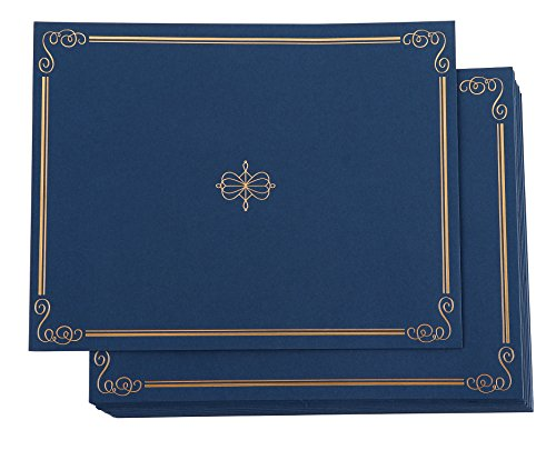Certificate Holder - 24-Pack Diploma Cover, Document Cover for Letter-Sized Award Certificates, Navy Blue, Gold Foil, 11.2 x 8.7 Inches