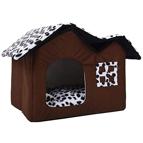 Tony Cruz Hot Pet House Luxury High-End Double Dog Room Brown Dog Bed Double Pet House Soft Warm Dog House 55 x 40 x 42 cm Pet Product