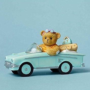 Road Trip Figurine - Cherished Teddies Every Mile is a Memory Bear on a Tropical Road Trip Figurine