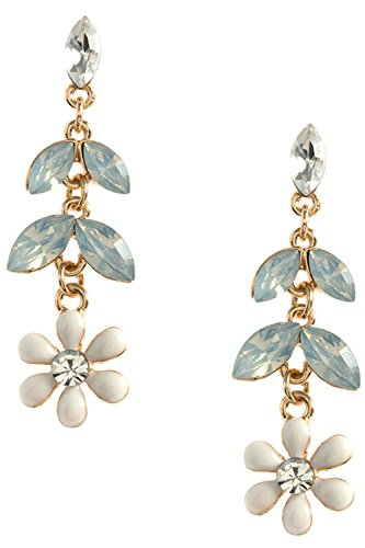 [THE JEWEL RACK CRYSTAL ACCENT FLORAL DROP EARRINGS (AB/White)] (The Real Batman Costume For Sale)