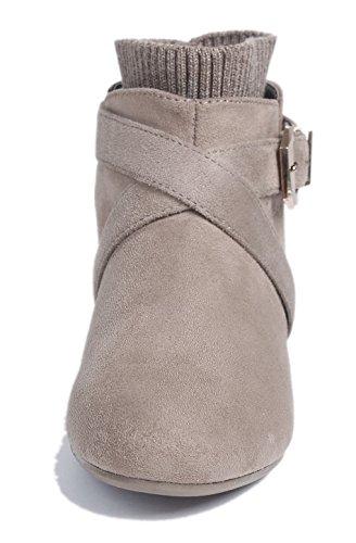 Damen Schließen Shoes Braun Stiefeletten Flache Schnalle Kurzschaft Rund AgeeMi Zehe P5Ixz5w
