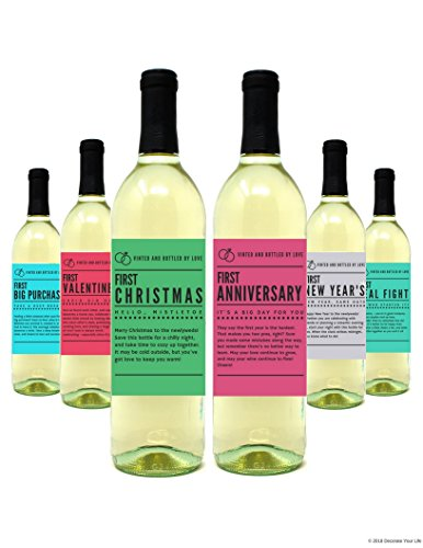 Wine Bottle Labels for Wedding Gift, Wedding Milestones, Wedding Firsts make for Perfect Bridal Shower, Engagement Party, Bachelorette Party, or Wedding Gift - Set of 6 - by Harper & Ivy Designs