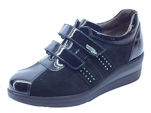 NeroGiardini per Camoscio Sneakers e Strappo Doppio Nero in Nero Vernice Donna Afq6H6nx