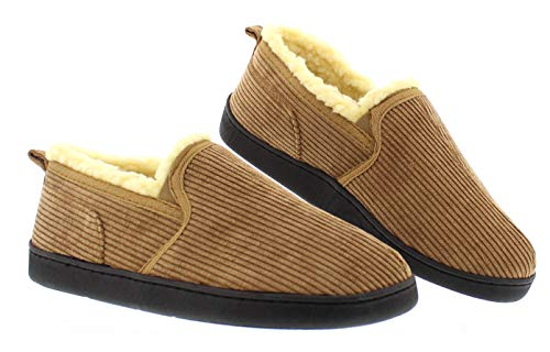 - Gordon Mens Memory Foam Home Slippers,Corduroy House Shoes,Bedroom Moccasins for Men Tan Men's Size 8 US