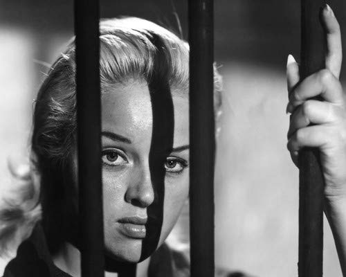 (Diana Dors in Yield to the Night behind prison bars 11x14 Aluminum Wall Art)