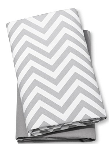 Fitted Baby Play Yard Sheets Chevron & Solid 2pk Grey and White