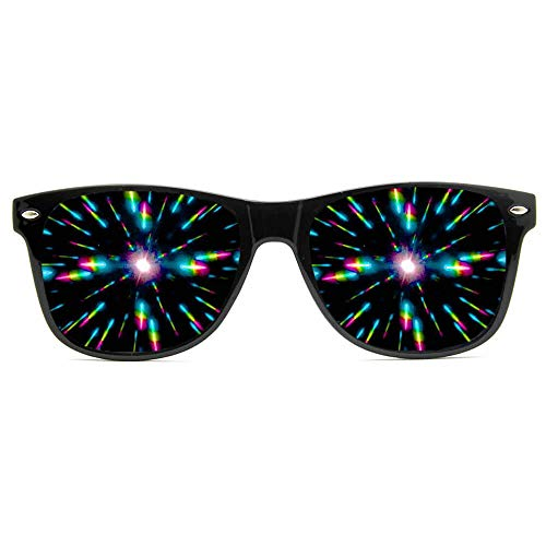 (GloFX Ultimate Diffraction Glasses - Black - 3D Prism Effect EDM Rainbow,Black,)