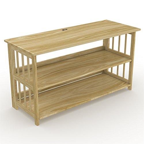 Stony-Edge FTVS-42-NA  42 inch TV Stand, Bookshelf, Media Storage Cabinet with USB Port, Natural Wood - Edge Media Tv