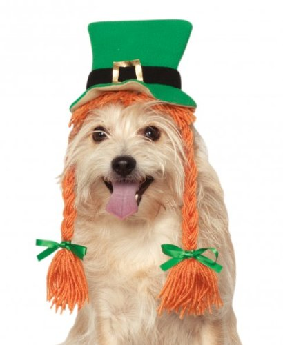 Rubies Costume Company St. Patty's Day Girl Pet Costume Hat with Braids, Small/Medium ()