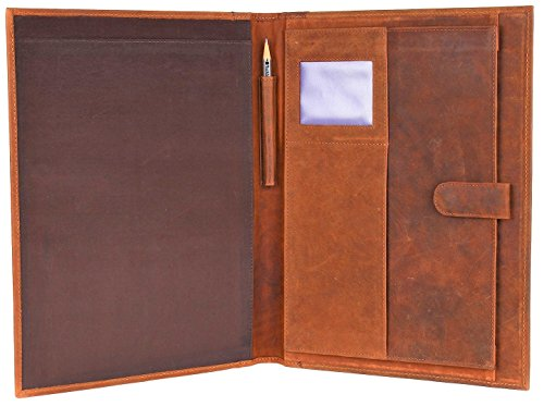 Leather Street Legal (Handmade GENUINE LEATHER Business Portfolio by Rustic Town | Professional Organizer Men & Women | Durable Leather Padfolio with Sleeves for documents and notepad (Brown))