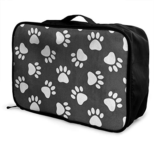 (Travel Bags Cat Dog Paw Print Portable Handbag Special Trolley Handle Luggage Bag)