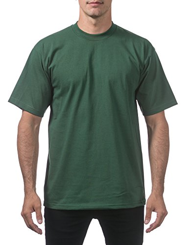 Pro Club Men's Heavyweight Cotton Short Sleeve Crew Neck T-Shirt, Large, Forest ()