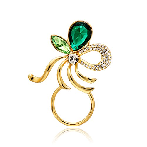 NOUMANDA Fashion Emerald Bow Magnetic Eyeglass Pin Brooch Glasses Spectacles Sunglasses Clip Holder (Gold) (Brooch Emerald Glass)