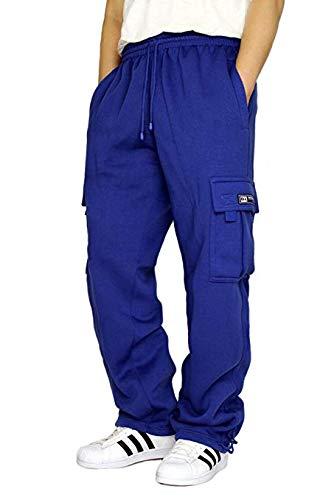 DREAM USA Men's Heavyweight Fleece Cargo Sweatpants, Royal Blue, Large