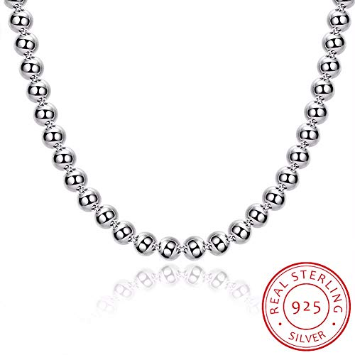 GYXYZB Women Fine Jewelry 20 '' 8Mm Hollow Buddha Beads Necklace 925 Sterling Silver Charm Necklace Chain Necklace