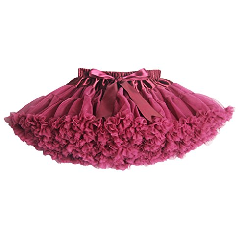 Price comparison product image Buenos Ninos Girl's Solid Color Dance Tutu Pettiskirt Wine Red 5-6T / 100