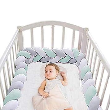 Amazon.com: Cuna de bebé parachoques de felpa guardería cuna ...