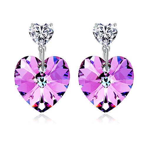 PLATO H Women Heart Drop Earrings with Crystal from Swarovski, Love Heart Dangle Earrings for Girls, Purple Heart Crystal Earrings, Purple Pink Crystal Heart Earrings ()