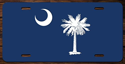 South Carolina State Flag Vanity Front License Plate Tag Printed Full Color KCFP020