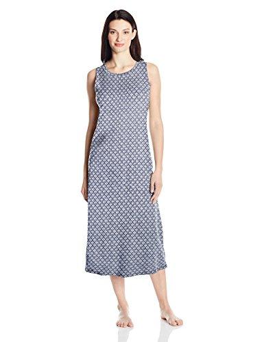 Amazon Essentials Women's 100% Cotton Sleeveless Nightgown, Print, (Design Sleeveless)