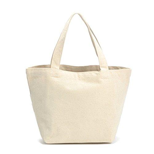Flowertree Unisex 100% Natural Cotton Ecofriendly DIY Canvas Tote Bag Small Size (beige, (Plain Bag)