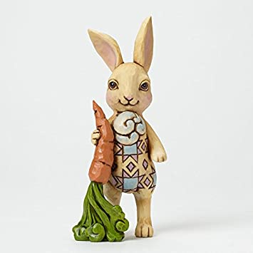 Jim Shore Springtime Nibbles Pint Size Bunny with Carrot Easter Figurine