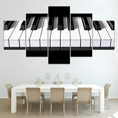 SJVR 5 Piece Wall Art Painting 5 Pieces Canvas Art Piano Keys hd Printed Music Poster Canvas Painting Home Decor Wall Pictures for Living Room No Frame