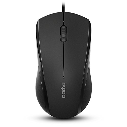 Rapoo N1600 3-Button Wired USB Optical Silent Mouse, Computer Mouse with 1000 DPI, Compatible with PC, Mac,Desktop and Laptop (Black)