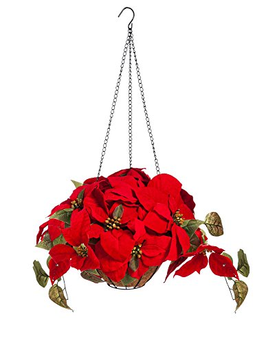 New Creative Light Up Poinsettia Battery Operated Hanging Basket - Festive Poinsettia Basket