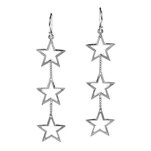 Triple Retro Open Star Link .925 Sterling Silver Dangle Earrings