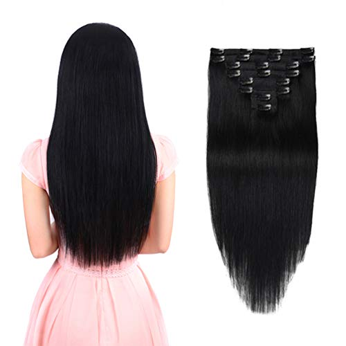 (Real Clip in Hair Extensions Black 8 Pieces - Premium Womens Straight Double Weft Thick Remy Hair Extensions Clip in on Human Hair for Short Hair (12