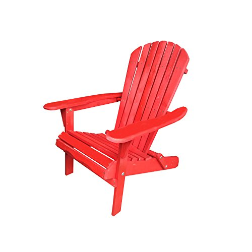 Carabelle Patio Outdoor Lawn & Garden Deck Villaret Adirondack Wood Chair (Red) Review