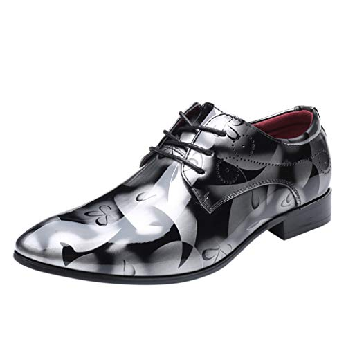 Sunyastor Men's Business Shoes Fashion Pointed Toe Bright Lace Up Leather Oxford Dress Shoes Formal Wedding Shoes Gray