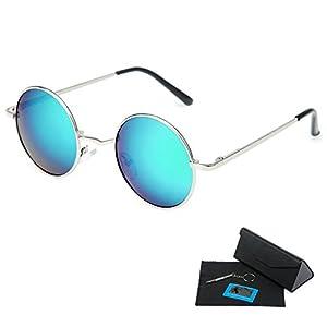 Shushu Jacob Unisex Polarized Sunglasses UV400 Protection 60s Style Round Metal - Green Lenses Silver Frame