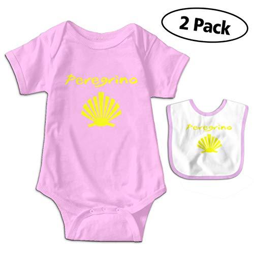 LMJ-PPF Camino De Santiago Unisex Baby Short Sleeve Bodysuits Onesies Give Baby Bib, Pink 6-12M ()