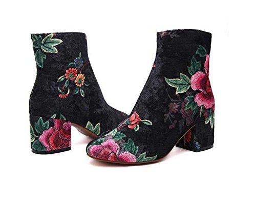 Chelsea Botas 6cm Chunkly Heel Bordado Ankle Booties Zapatos De Vestir Mujeres Elegent Ronda De Sol Dedo De Suede Rosas Botas Desnudo Modelo 2017 Auturm Invierno Nuevo Eu Tamaño 34-43 ( Color : Black