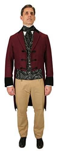 [Historical Emporium Men's Velvet Trimmed Sovereign Regency Tailcoat 2X Burgundy] (Sweeney Todd Halloween)