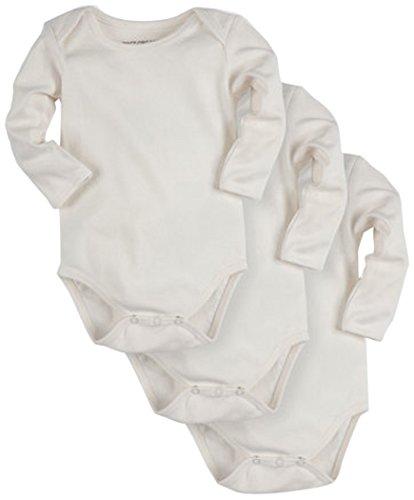 Pact Baby 3-Pack Long Sleeve, White, Newborn