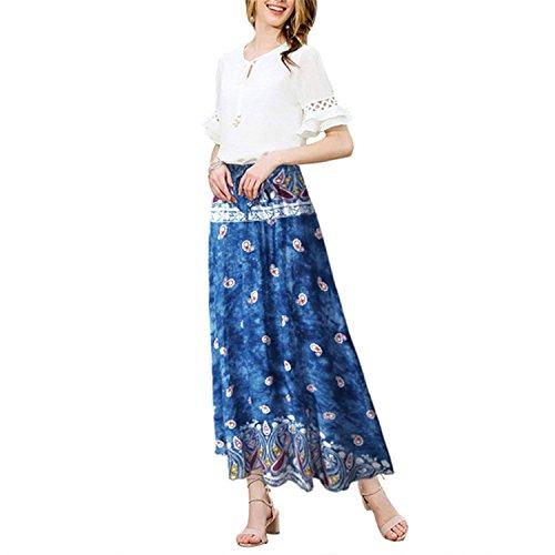Casual Boho High Waist Long Maxi Skirt Bohemian Floral Print Skirts Blue S ()