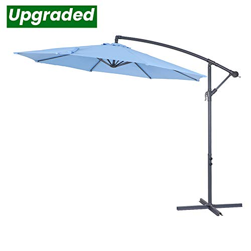 - Crestlive Products Upgraded 10 ft Patio Offset Cantilever Umbrella Outdoor Hanging Umbrella with Crank and Cross Base, Gray Umbrella Pole and Ribs (Sky Blue)