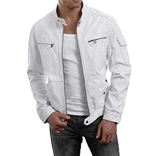 New Fashion Style Mens Leather Jackets Motorcycle Bomber Biker White Real Leather Jacket Men (Designer Jackets Mens Leather)